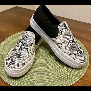 Shoes - Black & white faux snakeskin slip on sneakers
